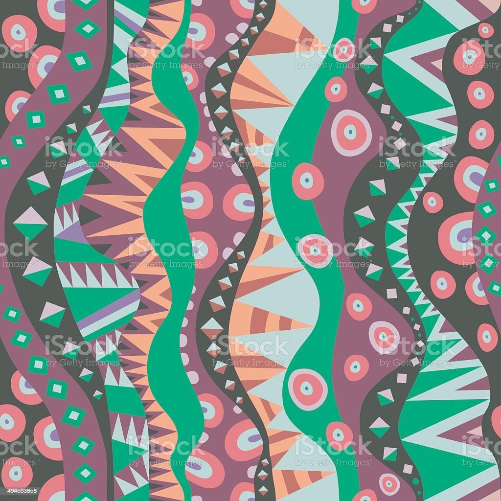 Seamless Motif With Vertical Tribal Aboriginal Pattern Vintage Colors vector art illustration