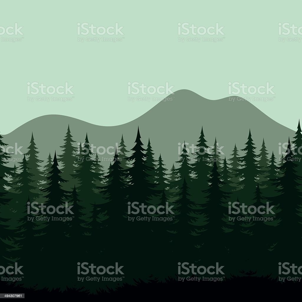 Seamless mountain landscape, forest silhouettes vector art illustration