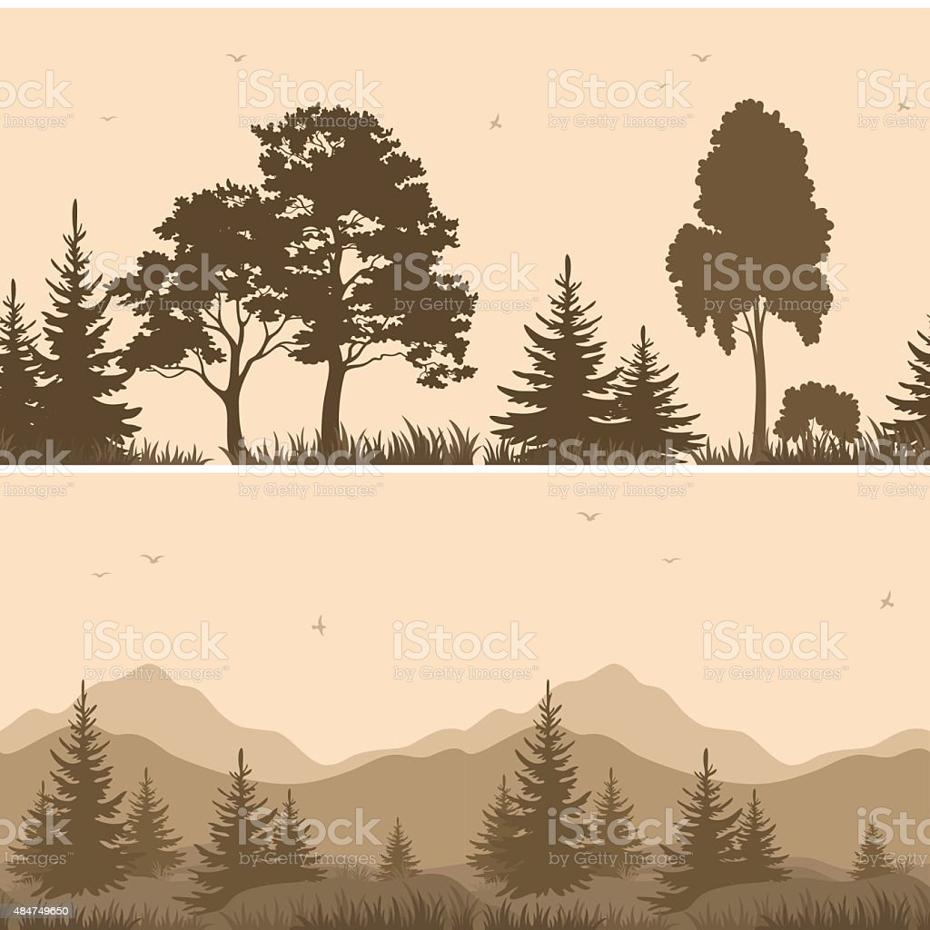 Seamless Mountain Landscape with Trees Silhouettes vector art illustration