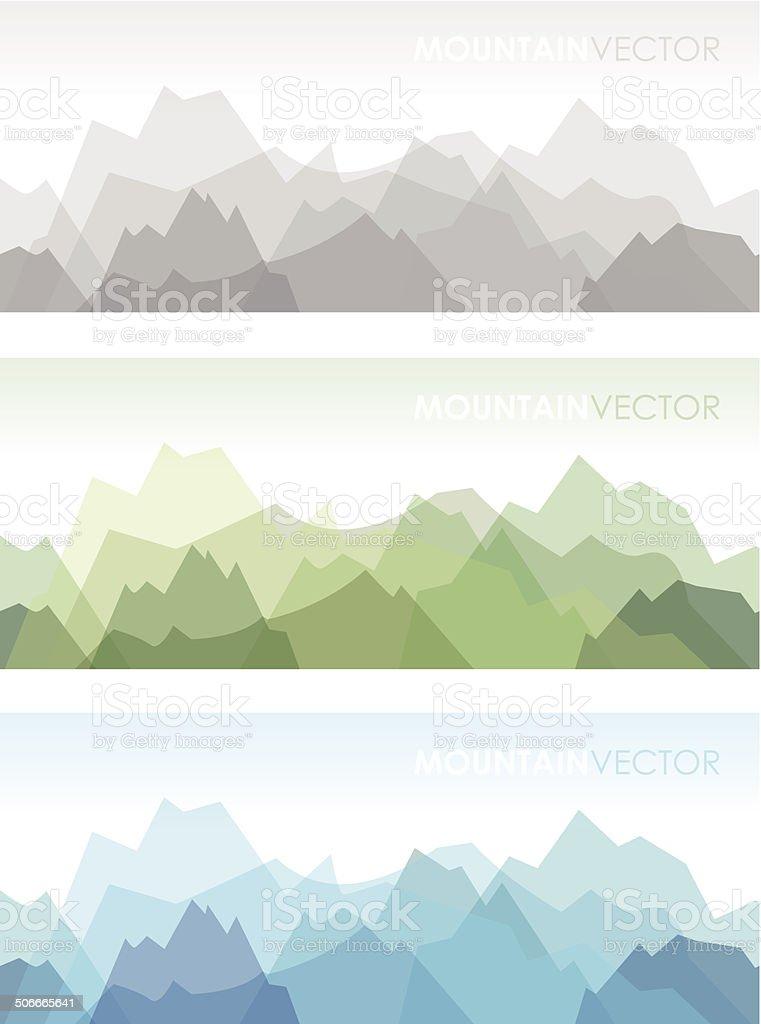 seamless mountains set vector art illustration