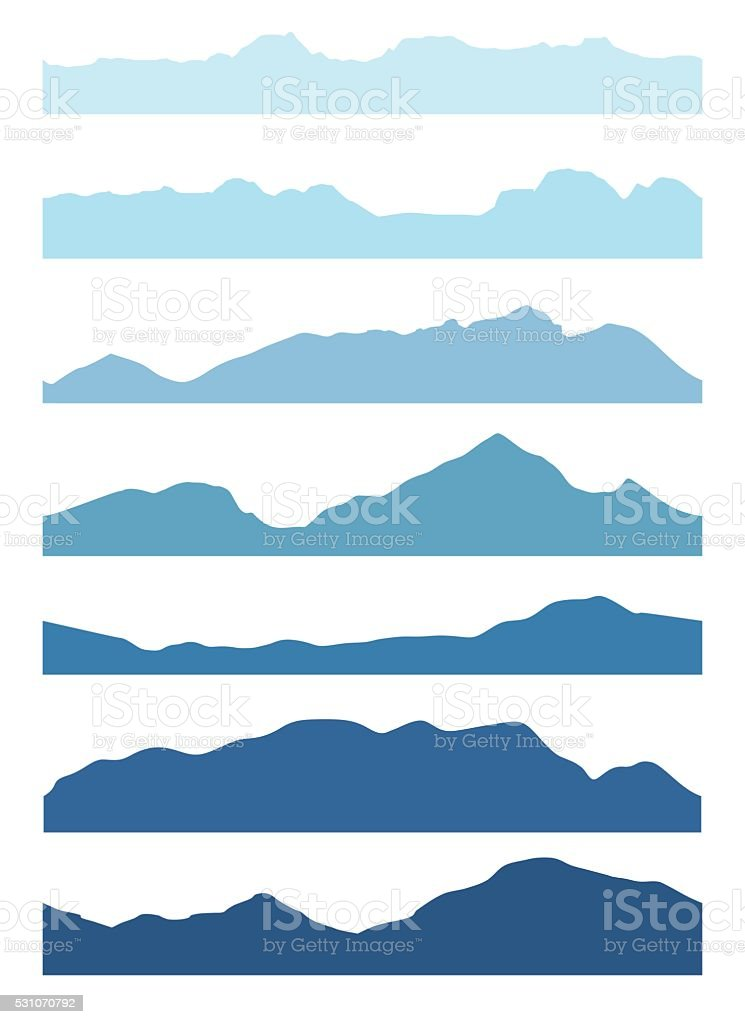 Seamless mountains silhouettes set. vector art illustration