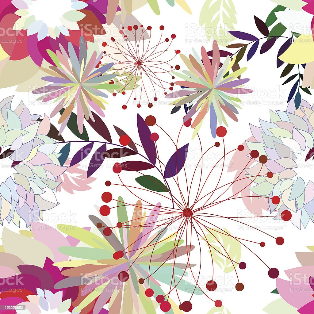 Seamless multicolor floral pattern royalty-free stock vector art