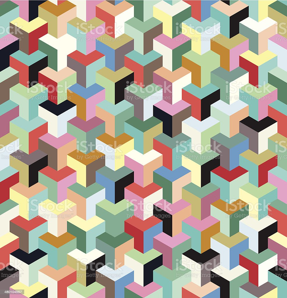 seamless multicolored blocks vector art illustration