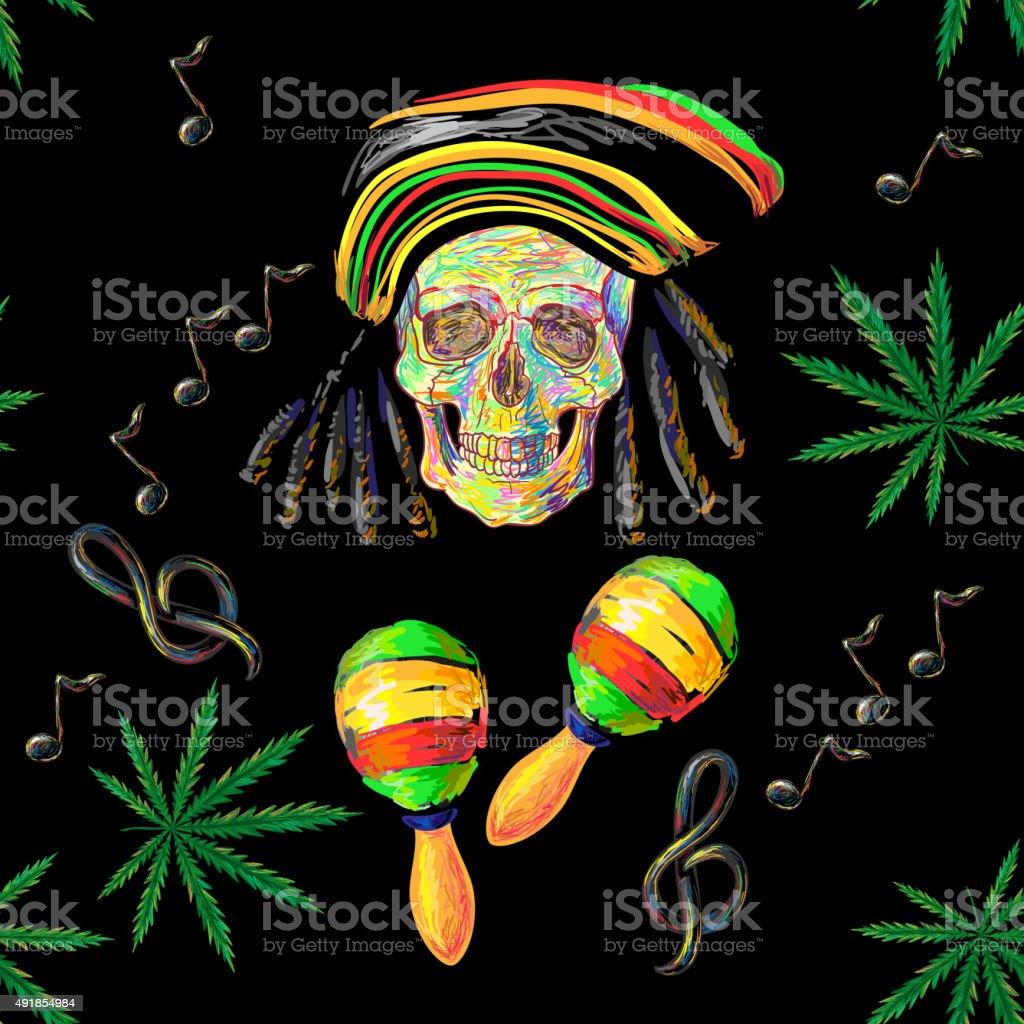 Seamless music Rastafarian pattern vector art illustration