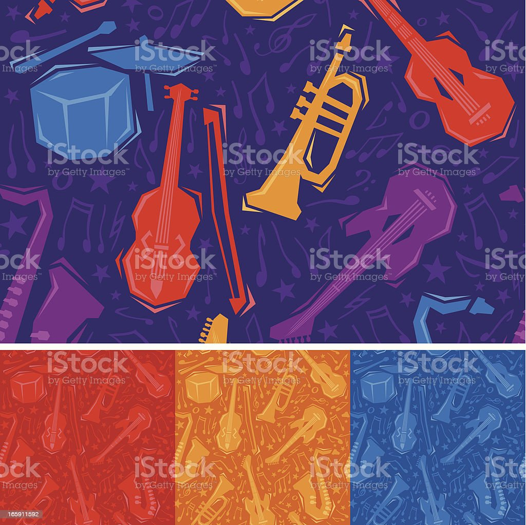 Seamless Musical Instruments vector art illustration