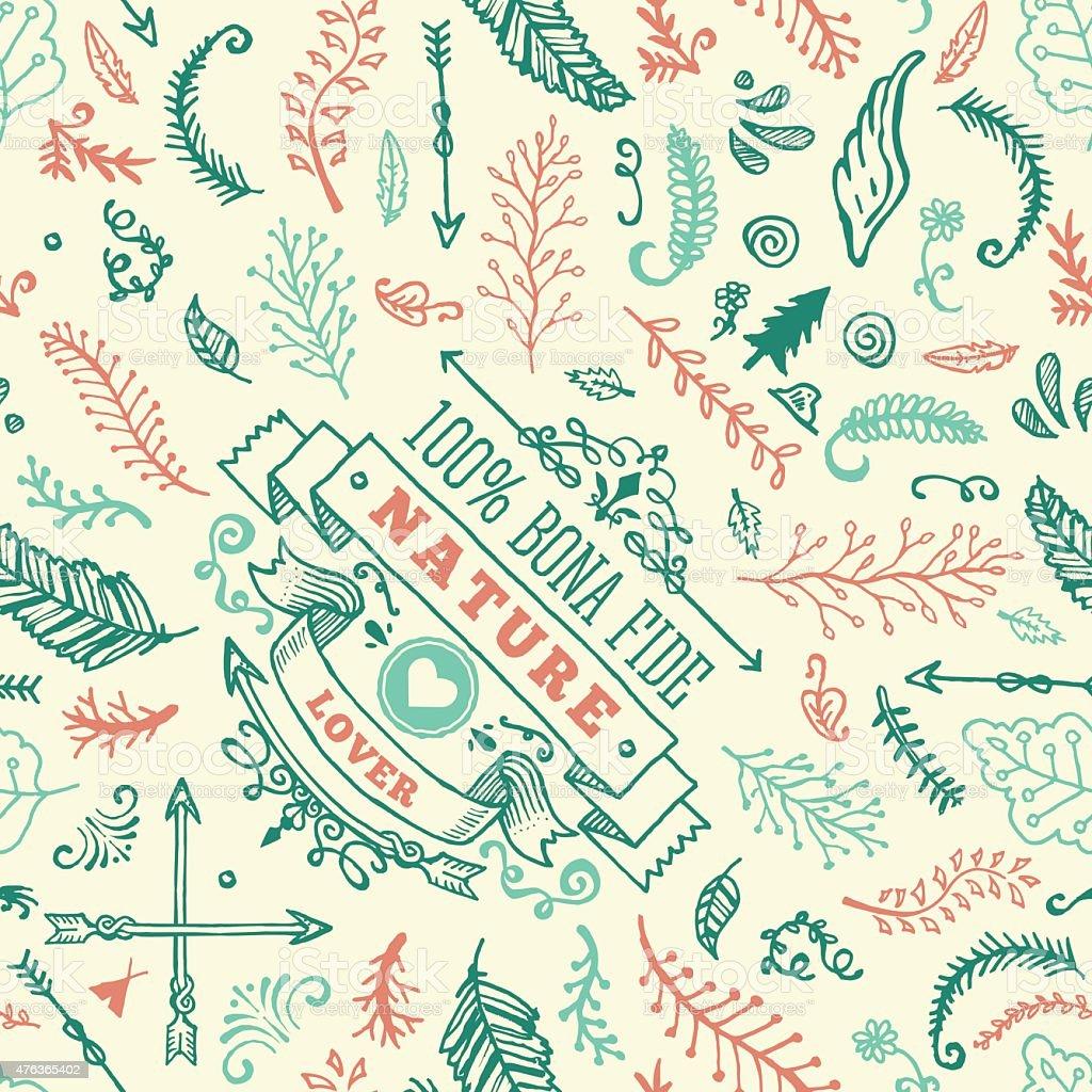 Seamless Nature Doodle Pattern vector art illustration
