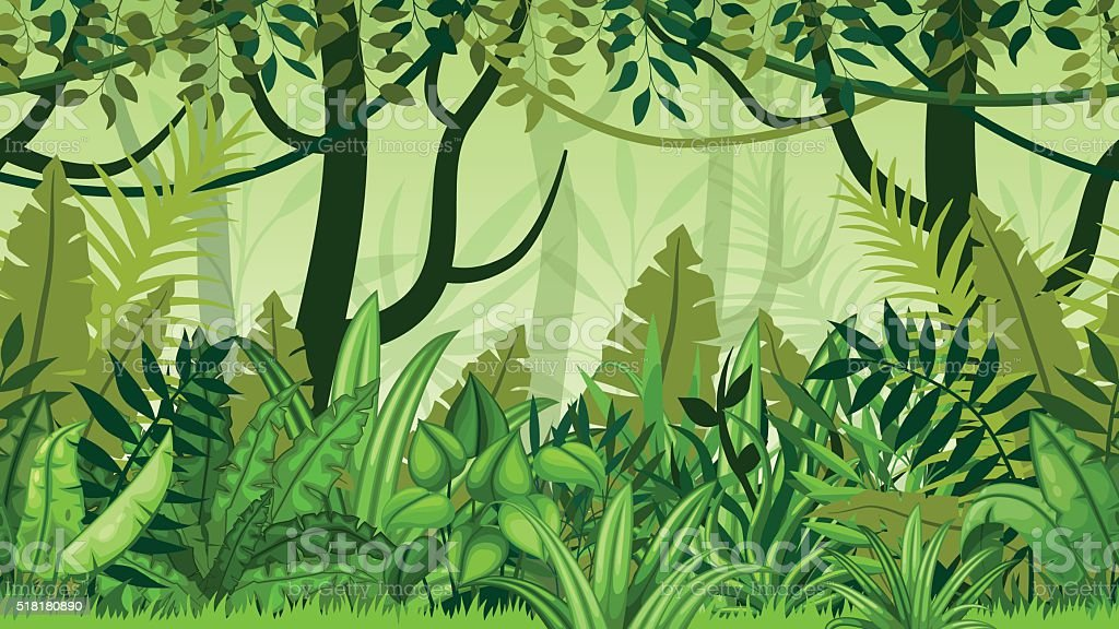 Seamless nature jungle cartoon landscape vector art illustration