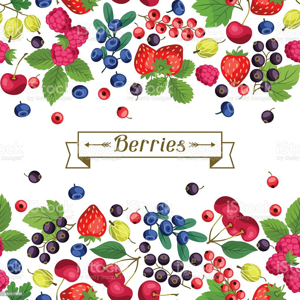 Seamless nature pattern with berries. vector art illustration