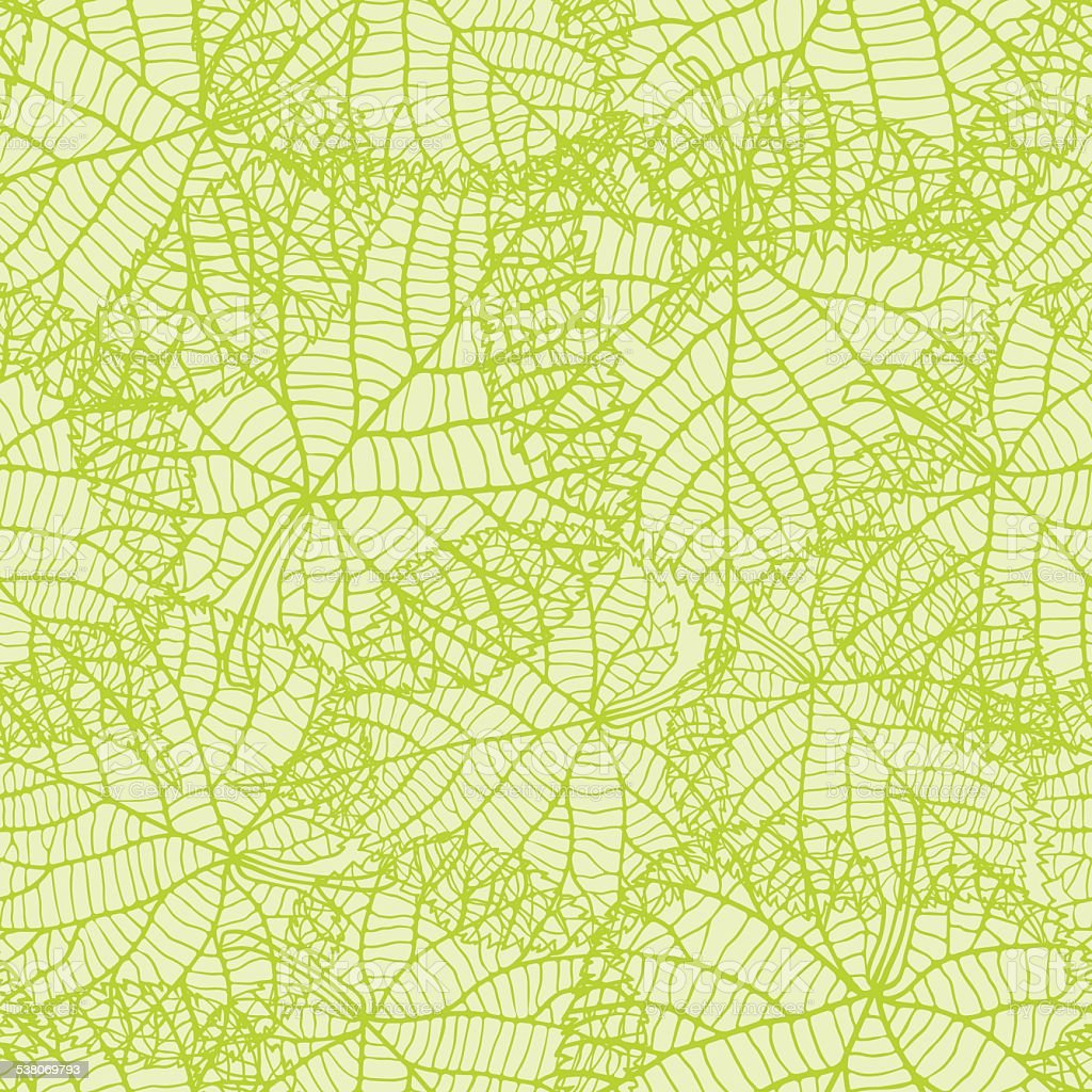 Seamless nature pattern with green leaves vector art illustration