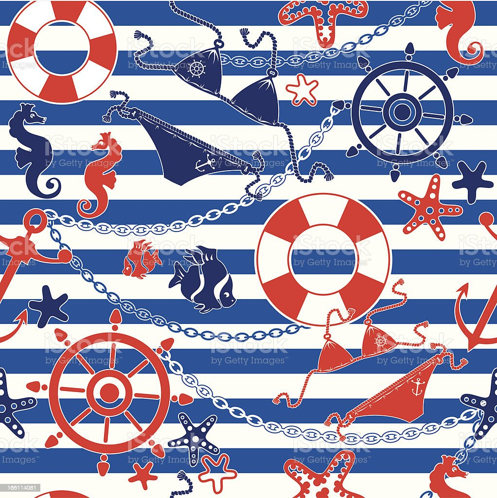 Seamless nautical pattern on striped backdrop royalty-free stock vector art