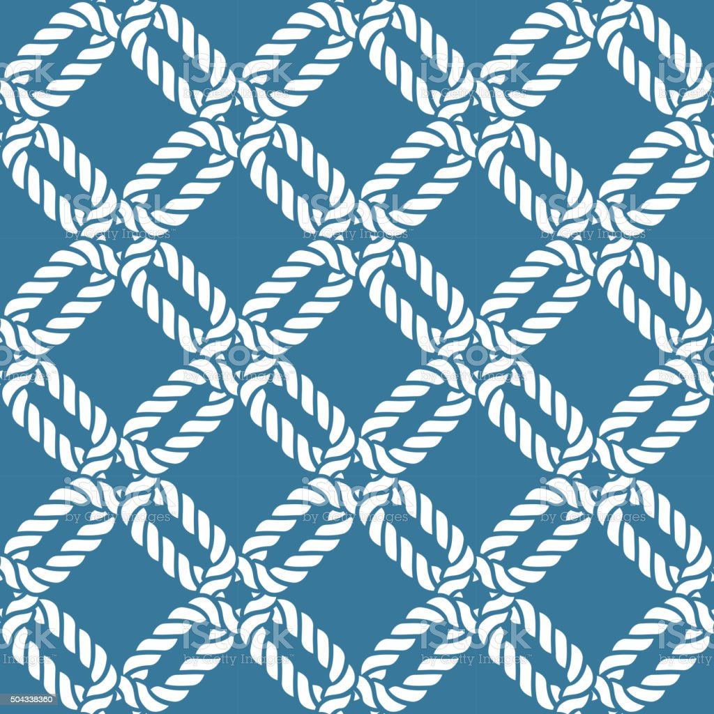 Seamless nautical rope pattern vector art illustration