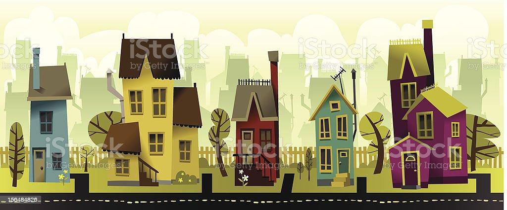 Seamless Neighborhood vector art illustration