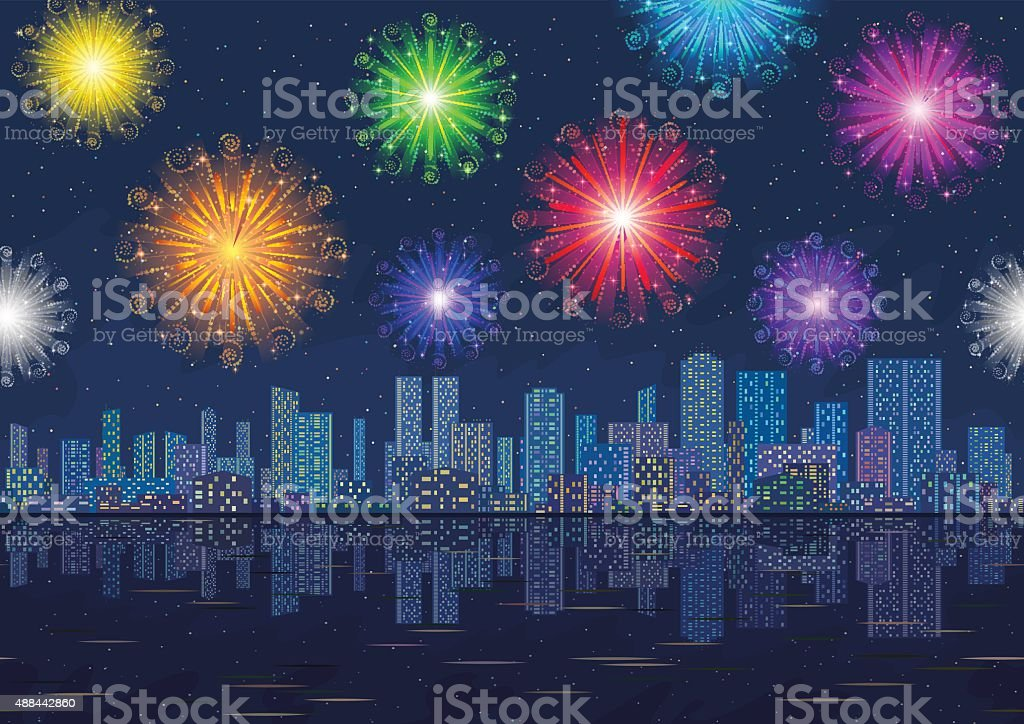 Seamless Night City Landscape with Fireworks vector art illustration