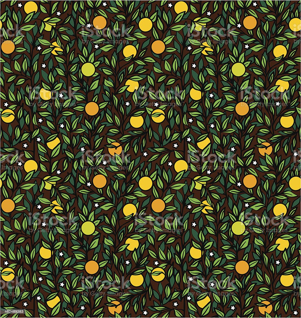 Seamless night vector pattern with an orange tree royalty-free stock vector art