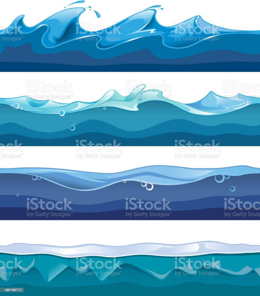 Seamless ocean, sea, water waves vector backgrounds set for ui vector art illustration