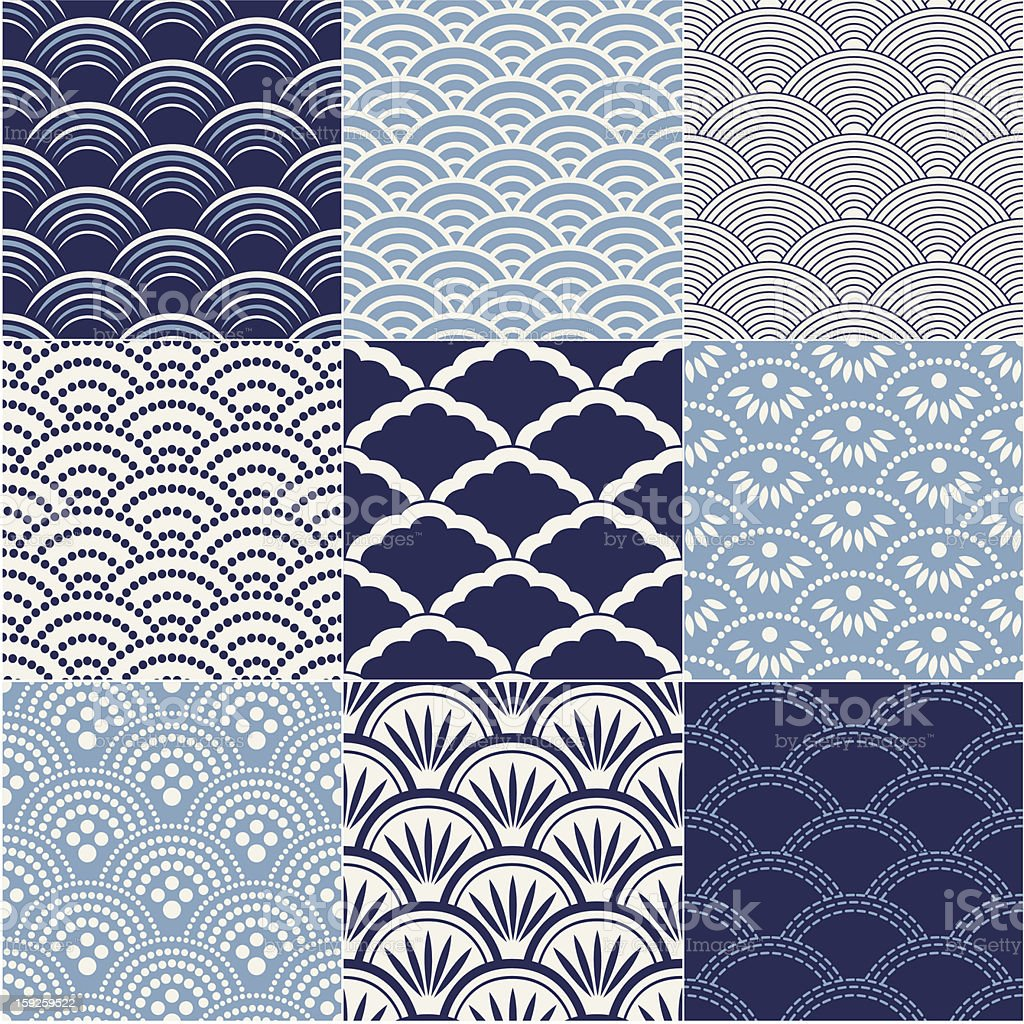 seamless ocean wave pattern royalty-free stock vector art