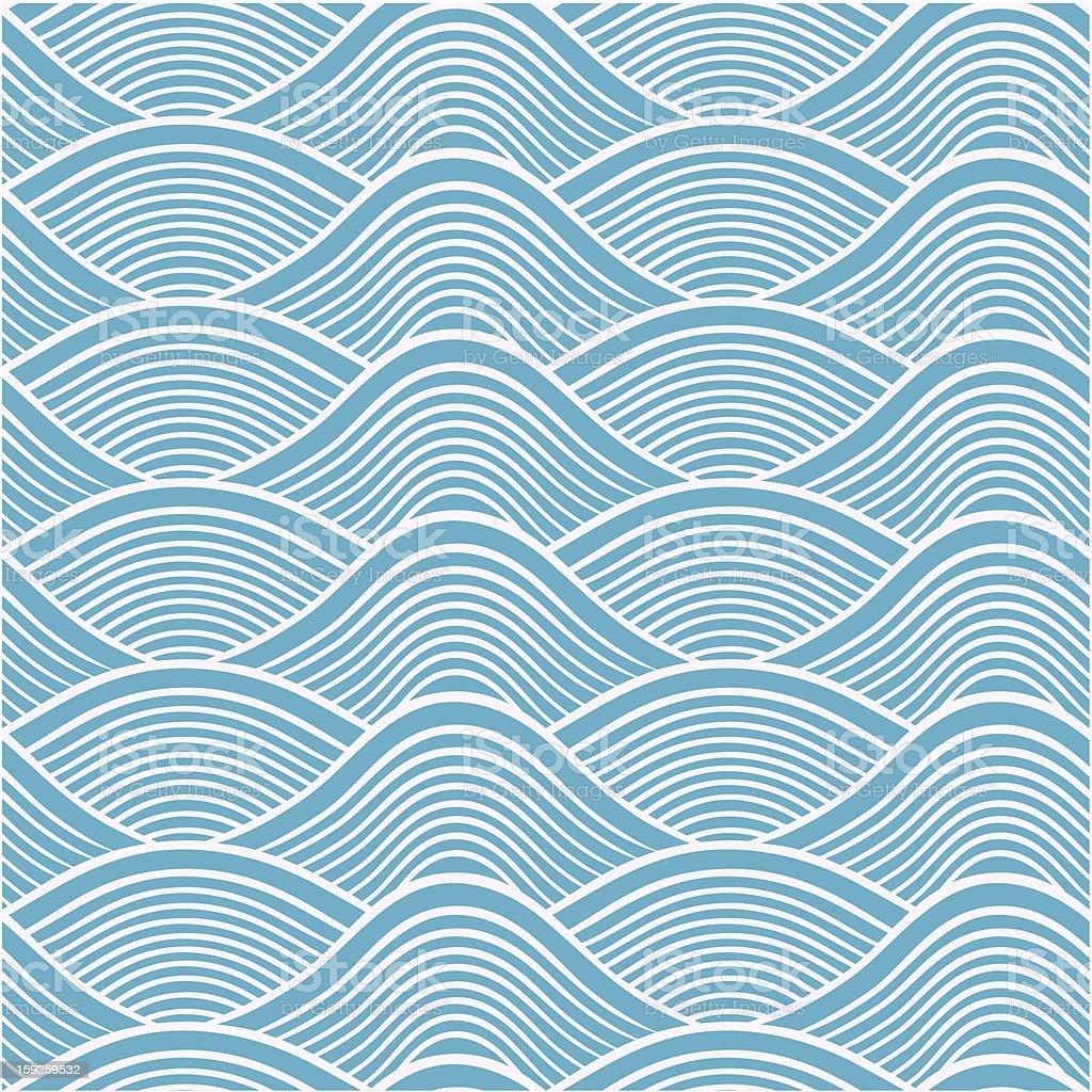 seamless ocean wave pattern vector art illustration