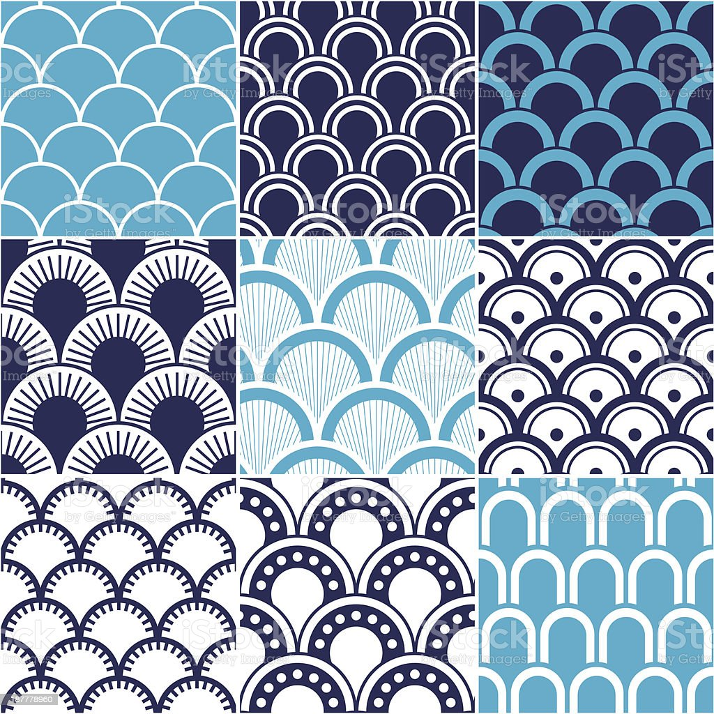 seamless ocean wave pattern vector art illustration