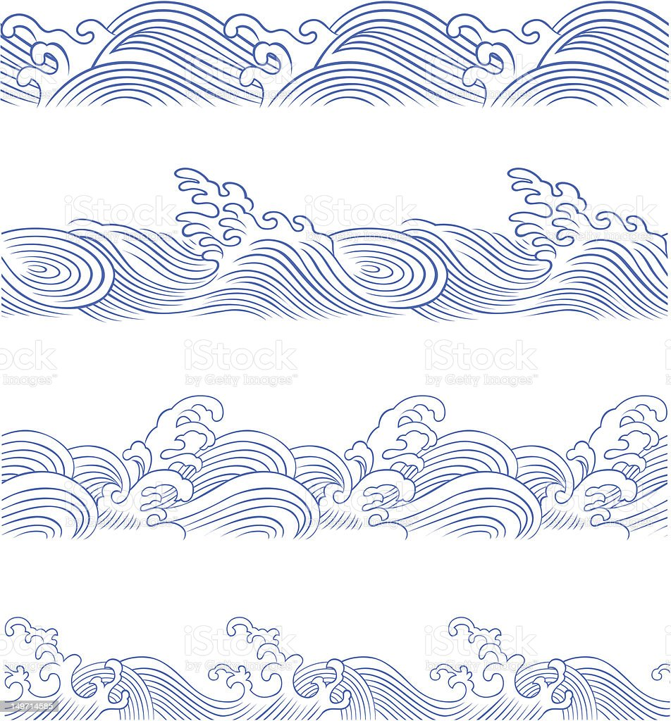 Senza soluzione di continuità oceano onda illustrazione royalty-free