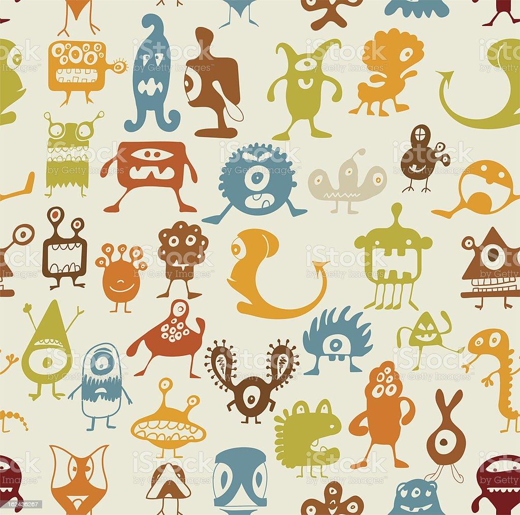 Seamless of monsters background vector art illustration