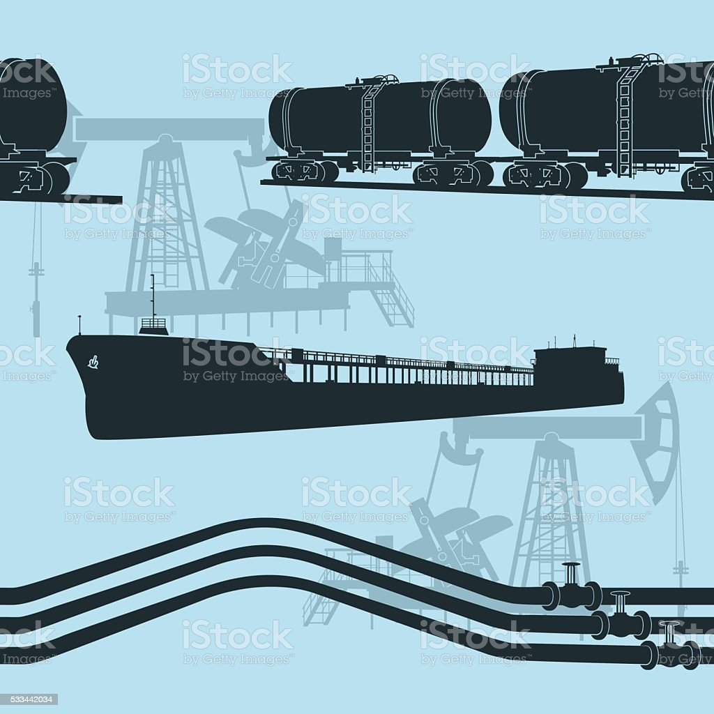 seamless oil transportation vector art illustration
