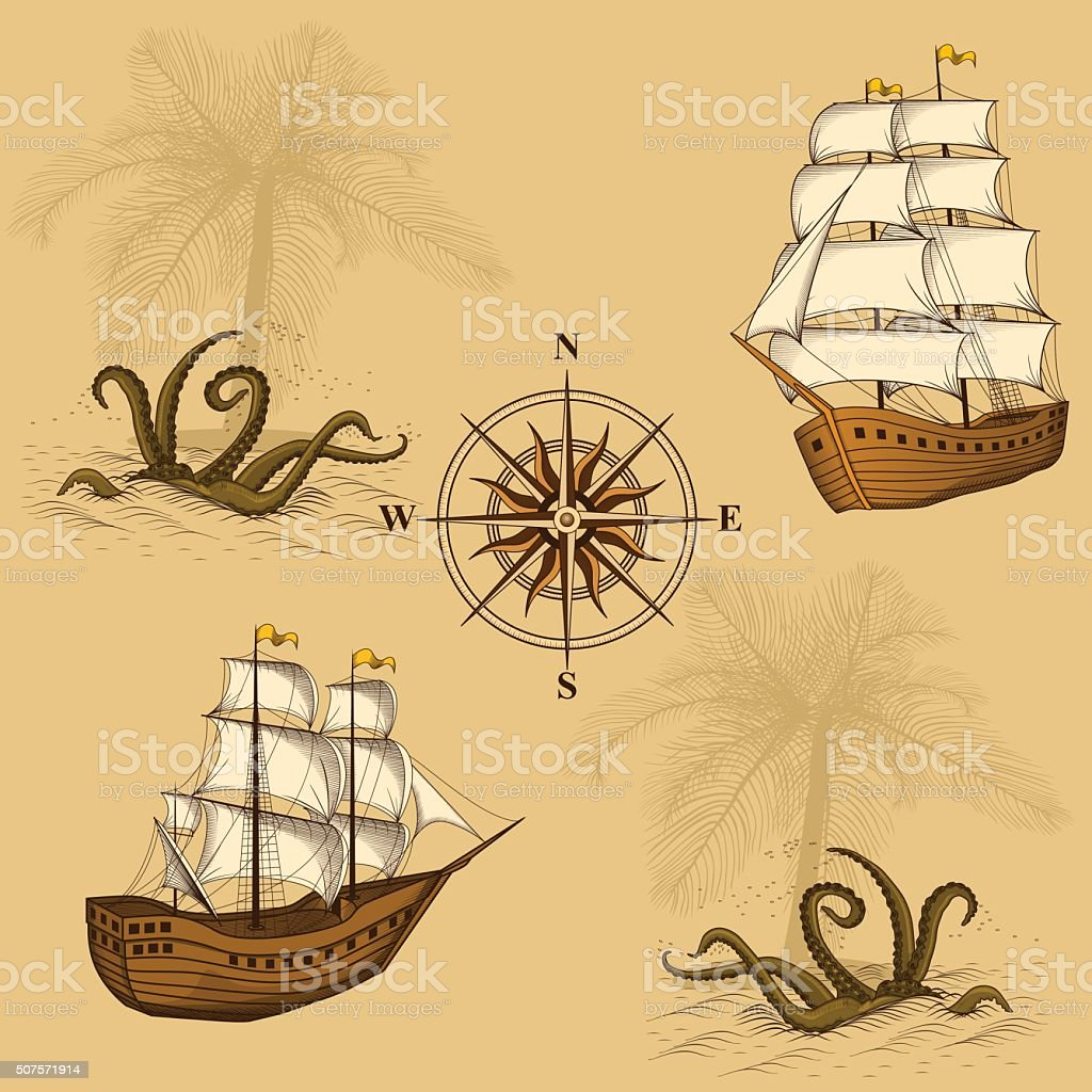 seamless old map with a compass and ships vector art illustration