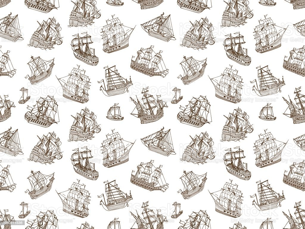 Seamless Old Sailing Ships Doodles vector art illustration