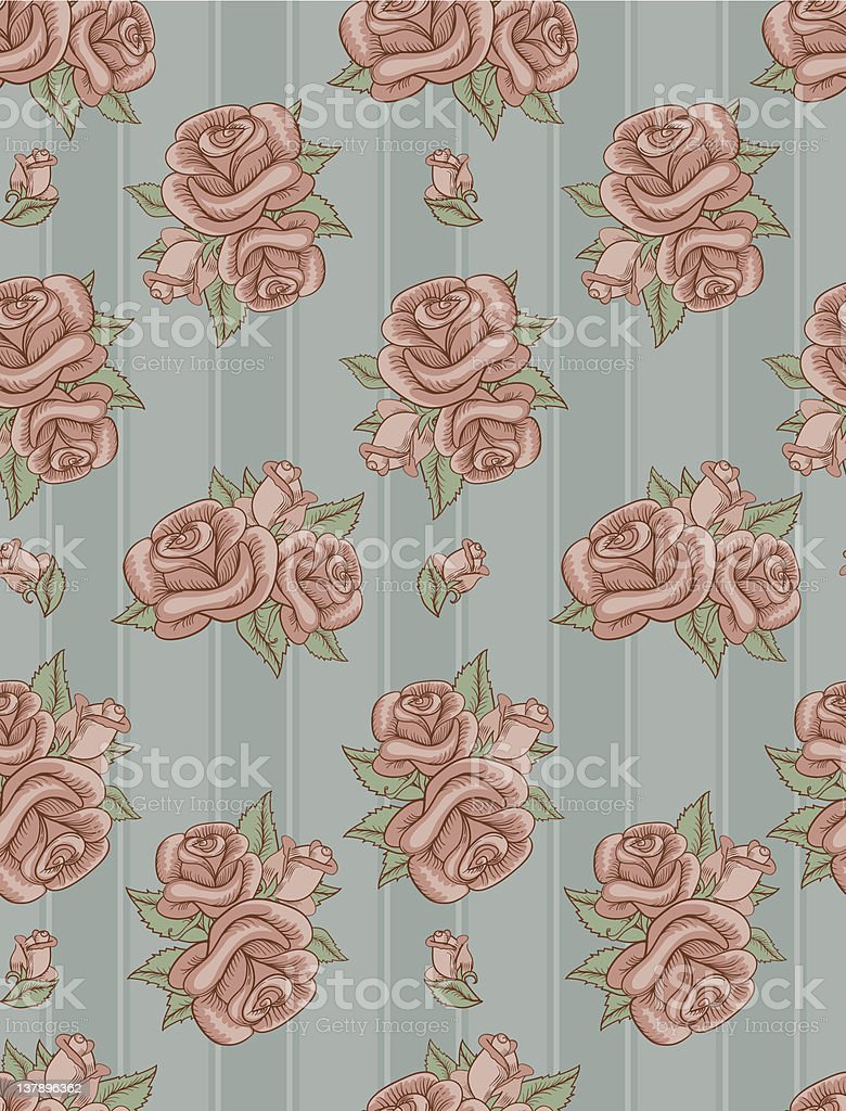Seamless old striped wallpaper with roses pattern royalty-free stock vector art