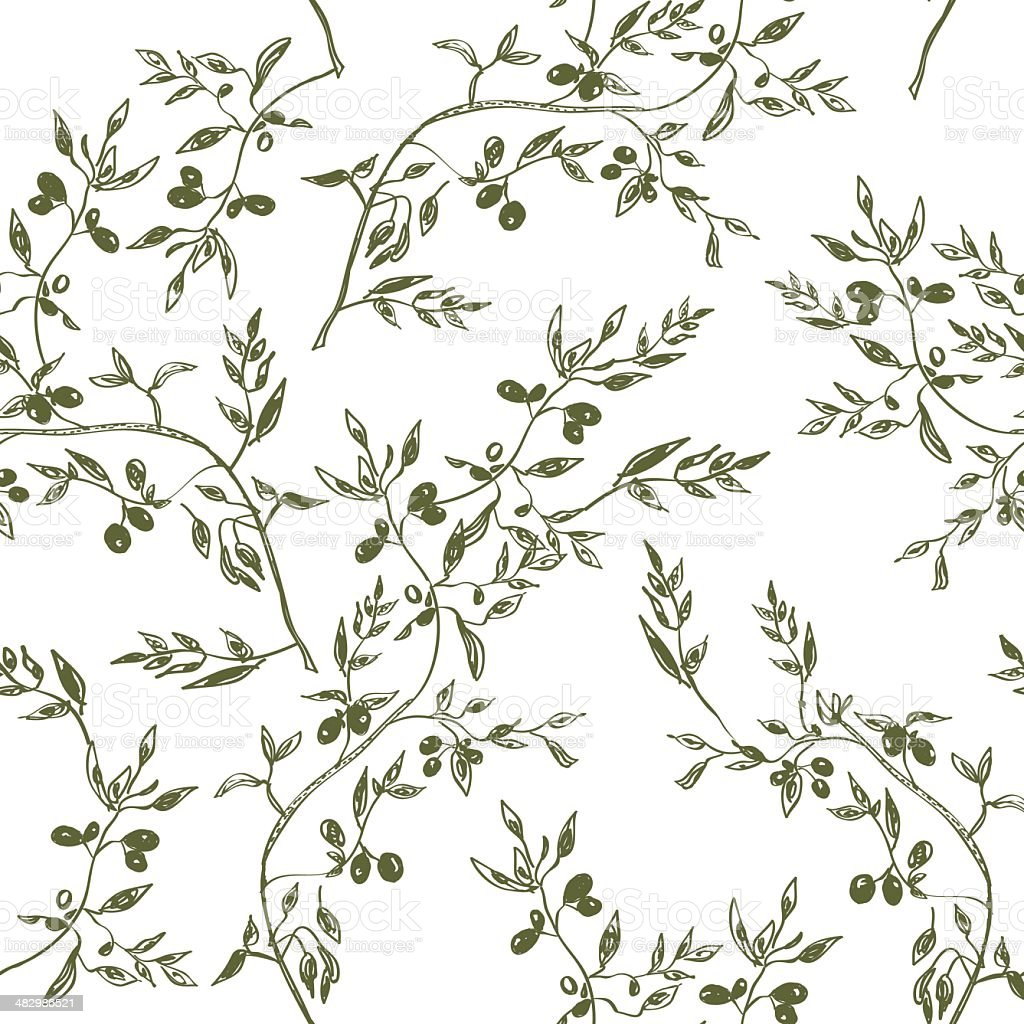 Seamless olive branch pattern hand drawn vector art illustration
