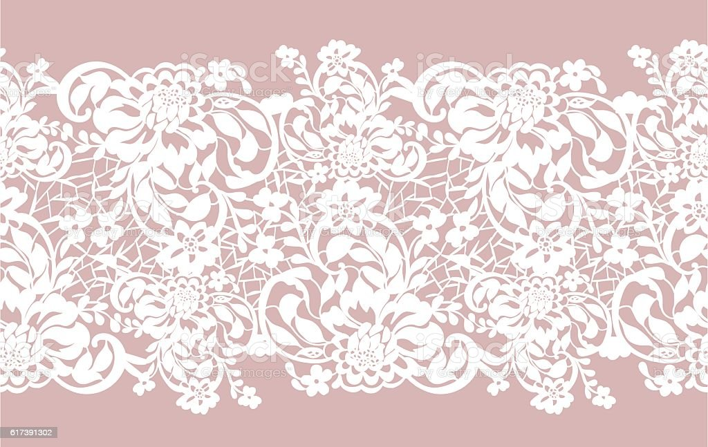 Seamless openwork lace patterned with beautiful flowers roses vector art illustration