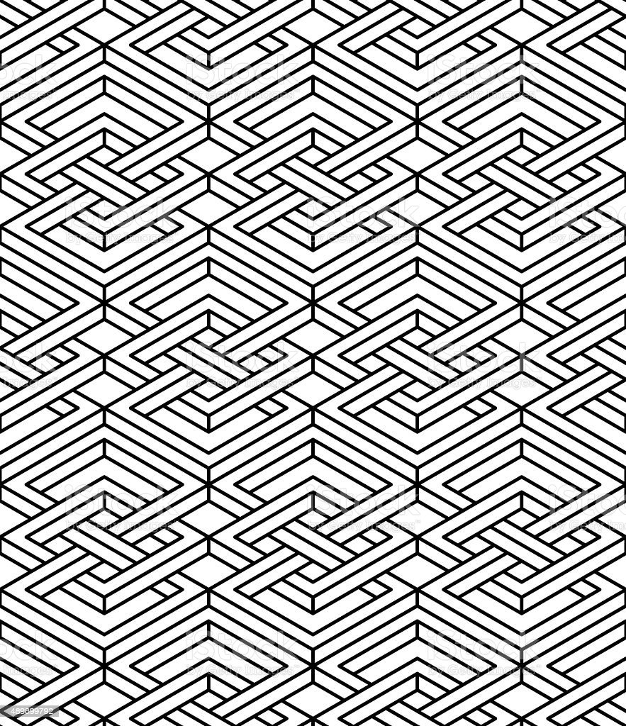 Seamless optical ornamental pattern, three-dimensional geometric vector art illustration
