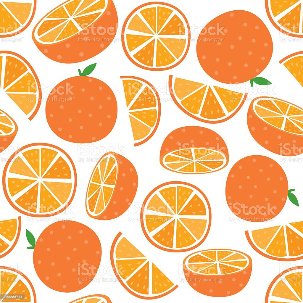 Seamless Orange Fruit vector art illustration