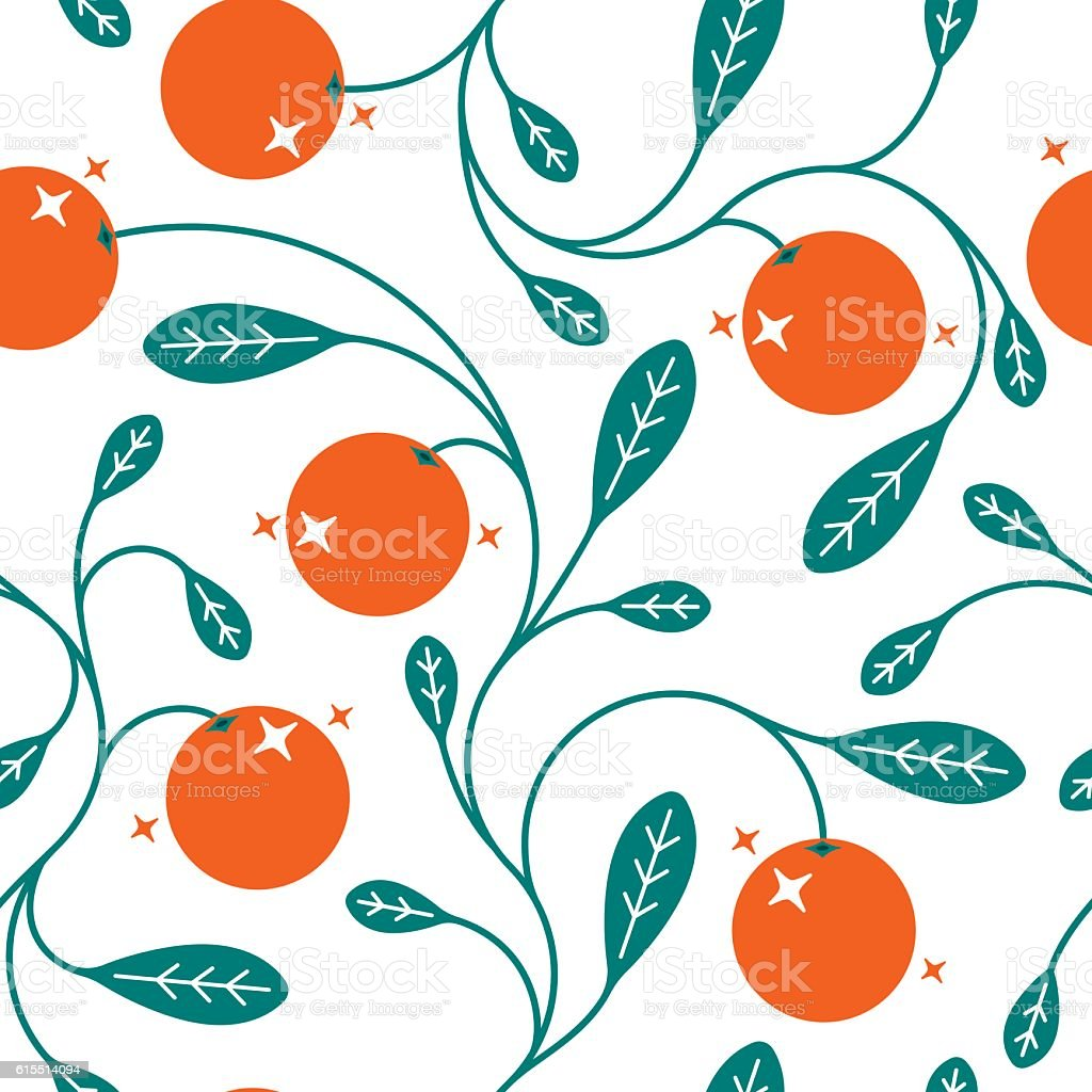 Seamless Oranges Background vector art illustration