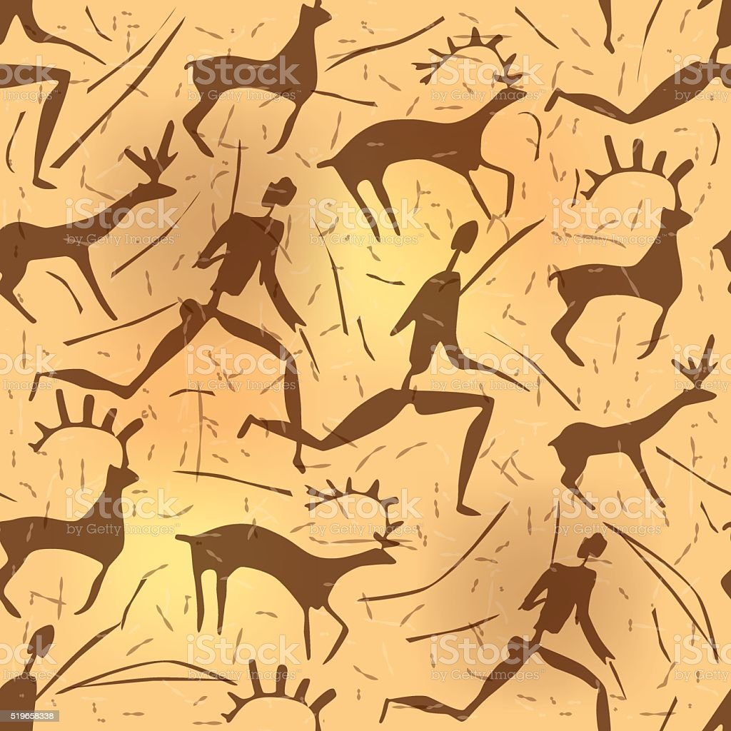 Seamless ornament African petroglyphic art old vector art illustration