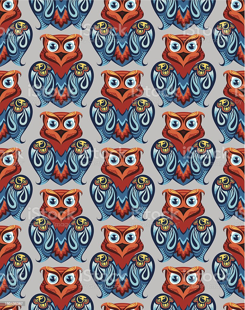 Seamless owl pattern royalty-free stock vector art