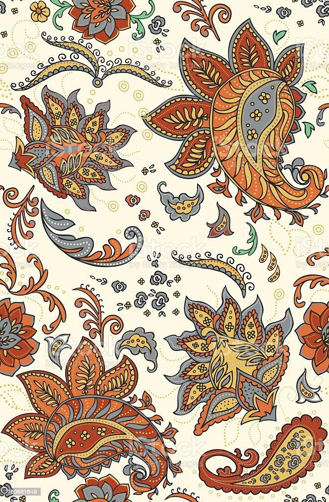 Seamless Paisley Color Pattern vector art illustration