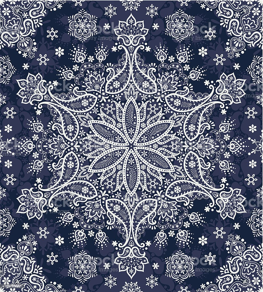Seamless paisley snowflakes royalty-free stock vector art