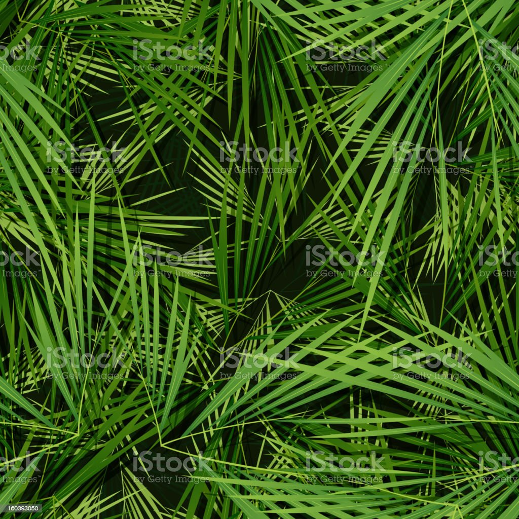 Seamless Palm Trees Leaves Wallpaper royalty-free stock vector art