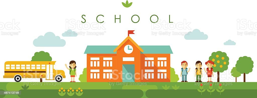 Seamless panoramic background with school building in flat style vector art illustration