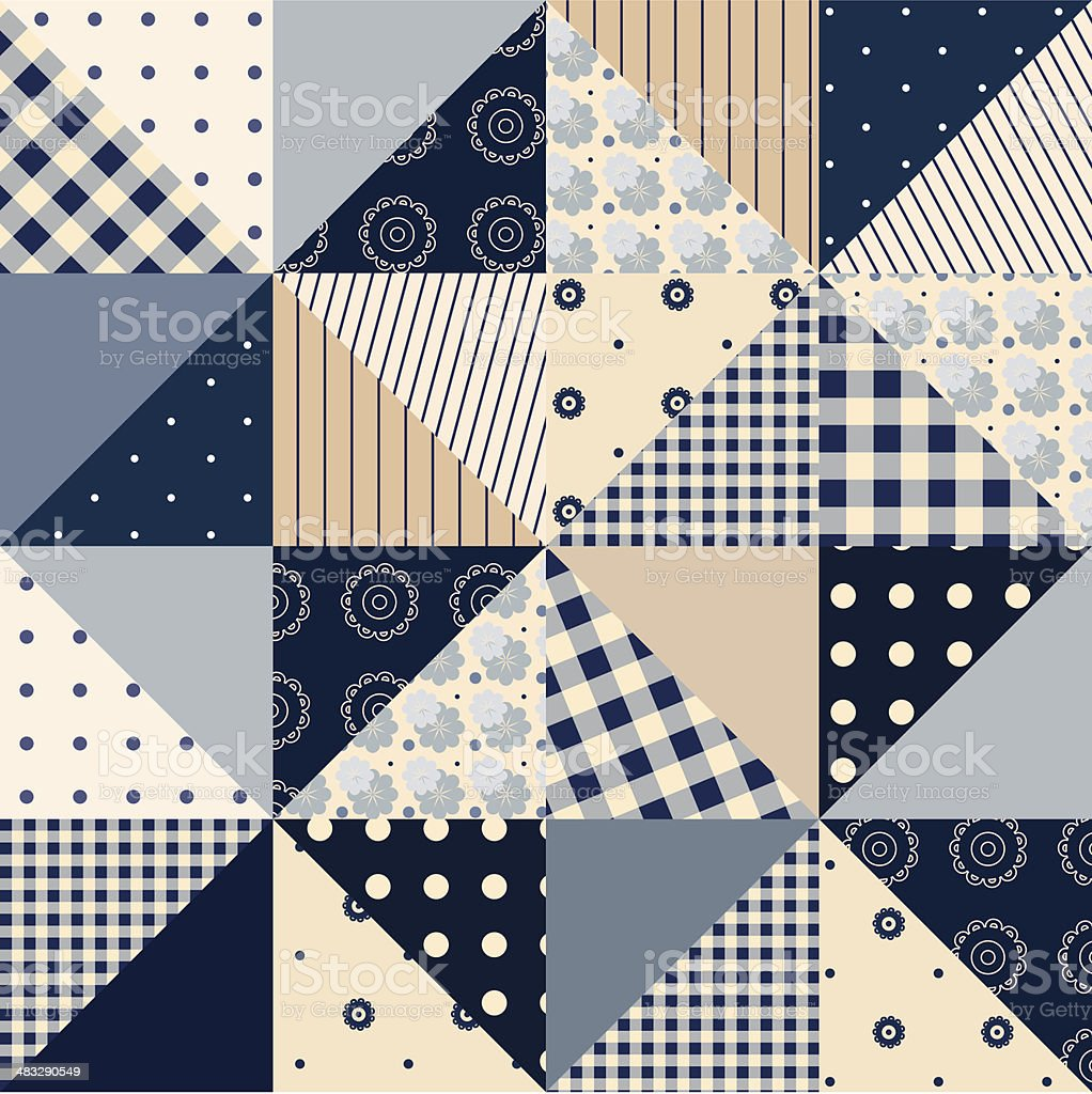 Seamless patchwork of triangles vector art illustration