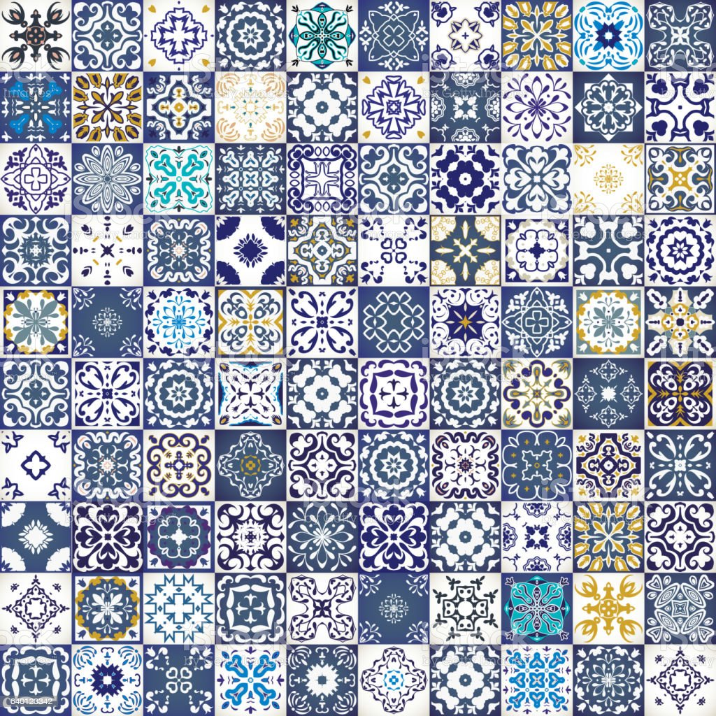 Seamless patchwork pattern from colorful Moroccan tiles, ornaments. textures. vector art illustration