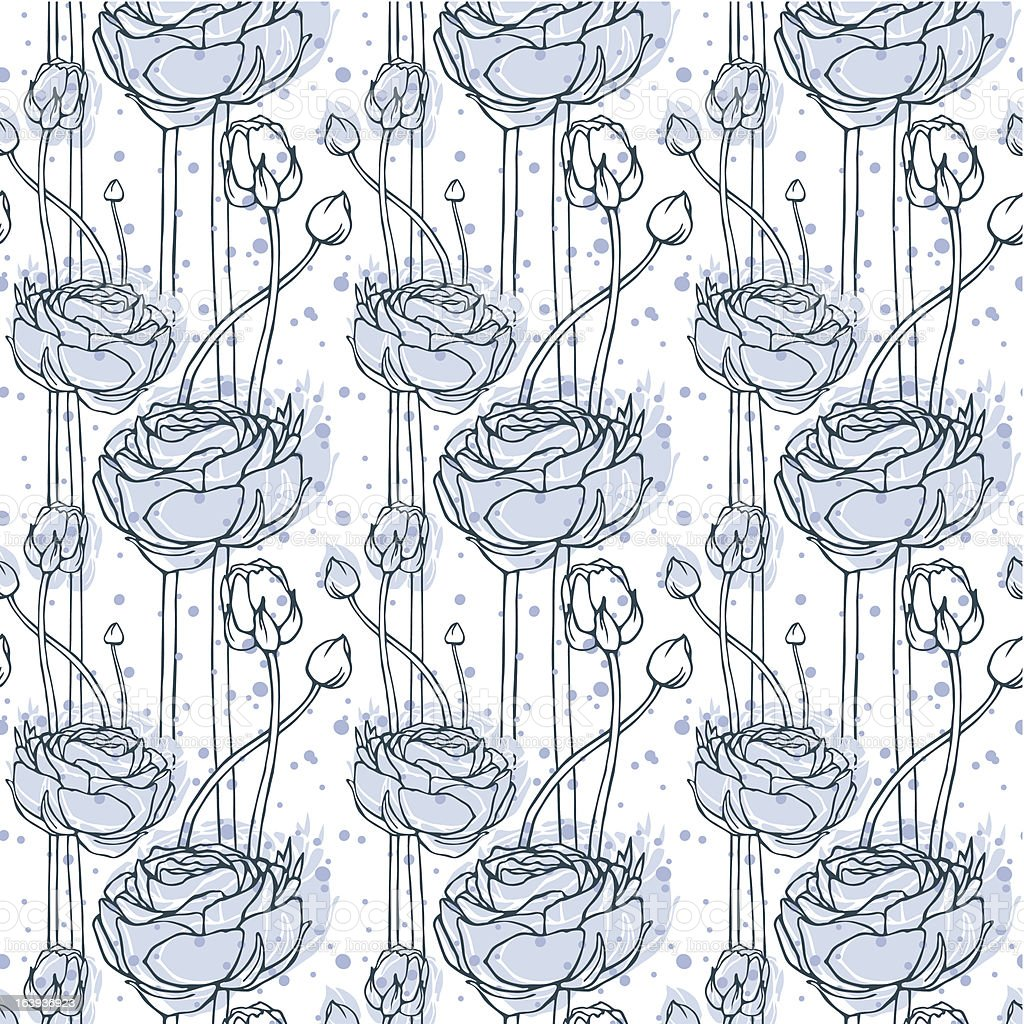 Seamless patern Ranunculus vector art illustration