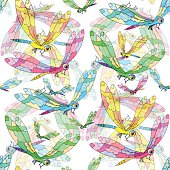 seamless pattern a dragonfly flies. vector illustration