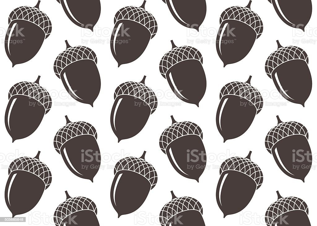 Seamless pattern. Acorn vector art illustration