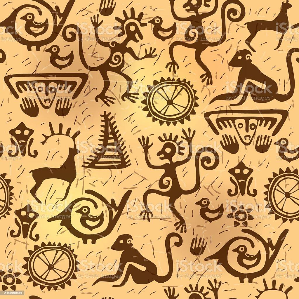 Seamless pattern ancient old vector art illustration