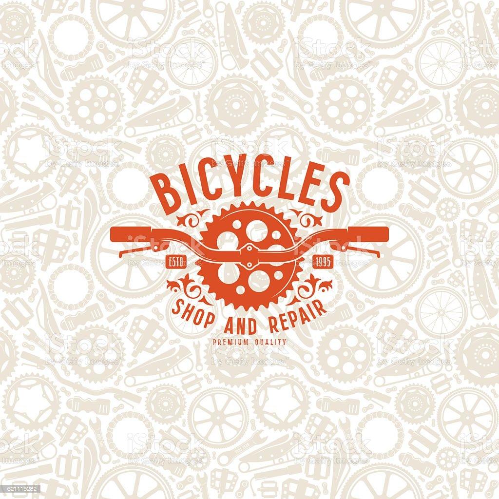 Seamless pattern and bike shop label vector art illustration