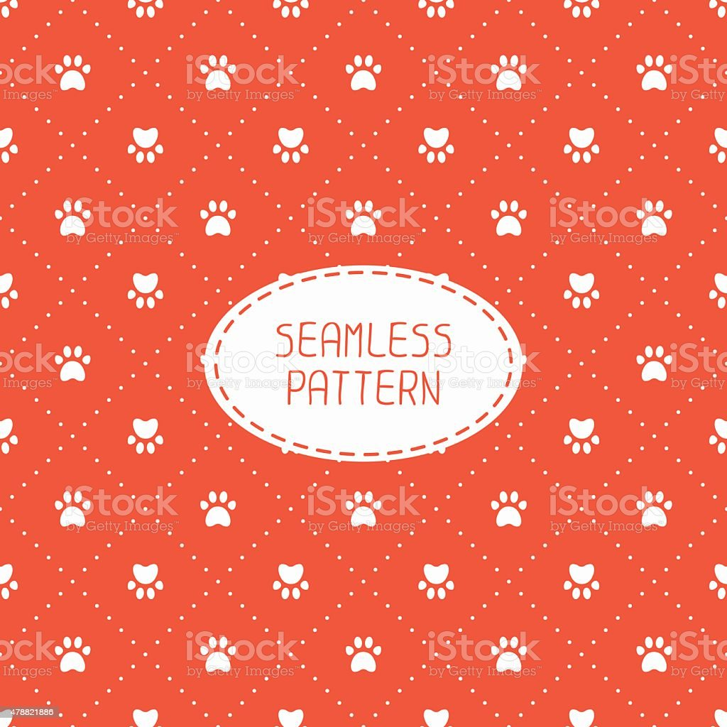 Seamless pattern. Animal footprints, cat, dog. Wrapping paper.  Paw prints. vector art illustration