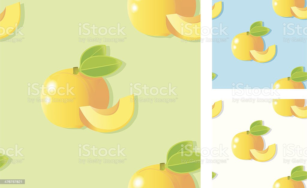 seamless pattern apricots (marilles) with slices. royalty-free stock vector art