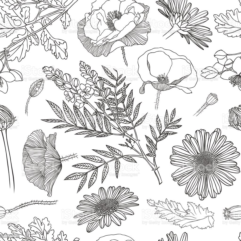 Seamless pattern - assorted flowers vector art illustration