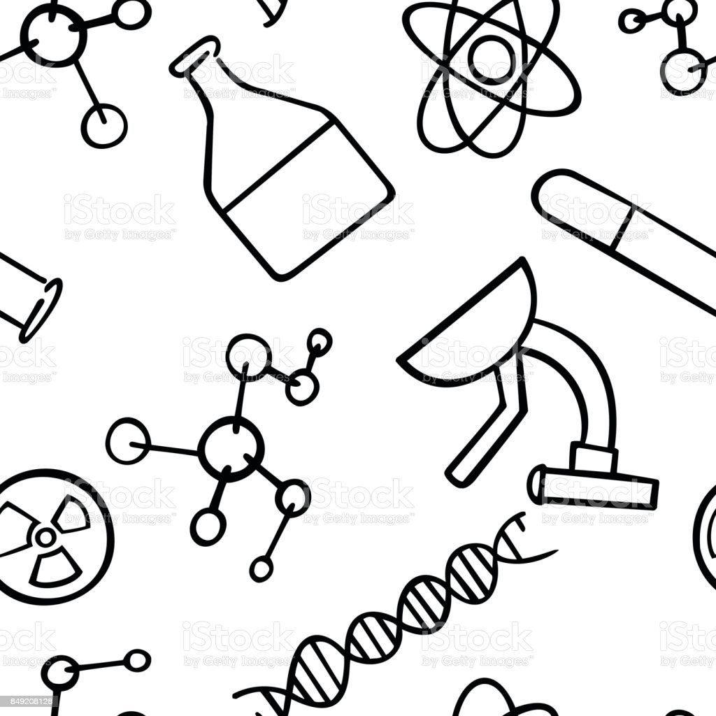 Seamless pattern background chemistry concept. vector art illustration